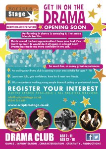 New drama club opening in Berwick Upon Tweed. Drama classes suitable for 7-18 year olds in Northumberland.