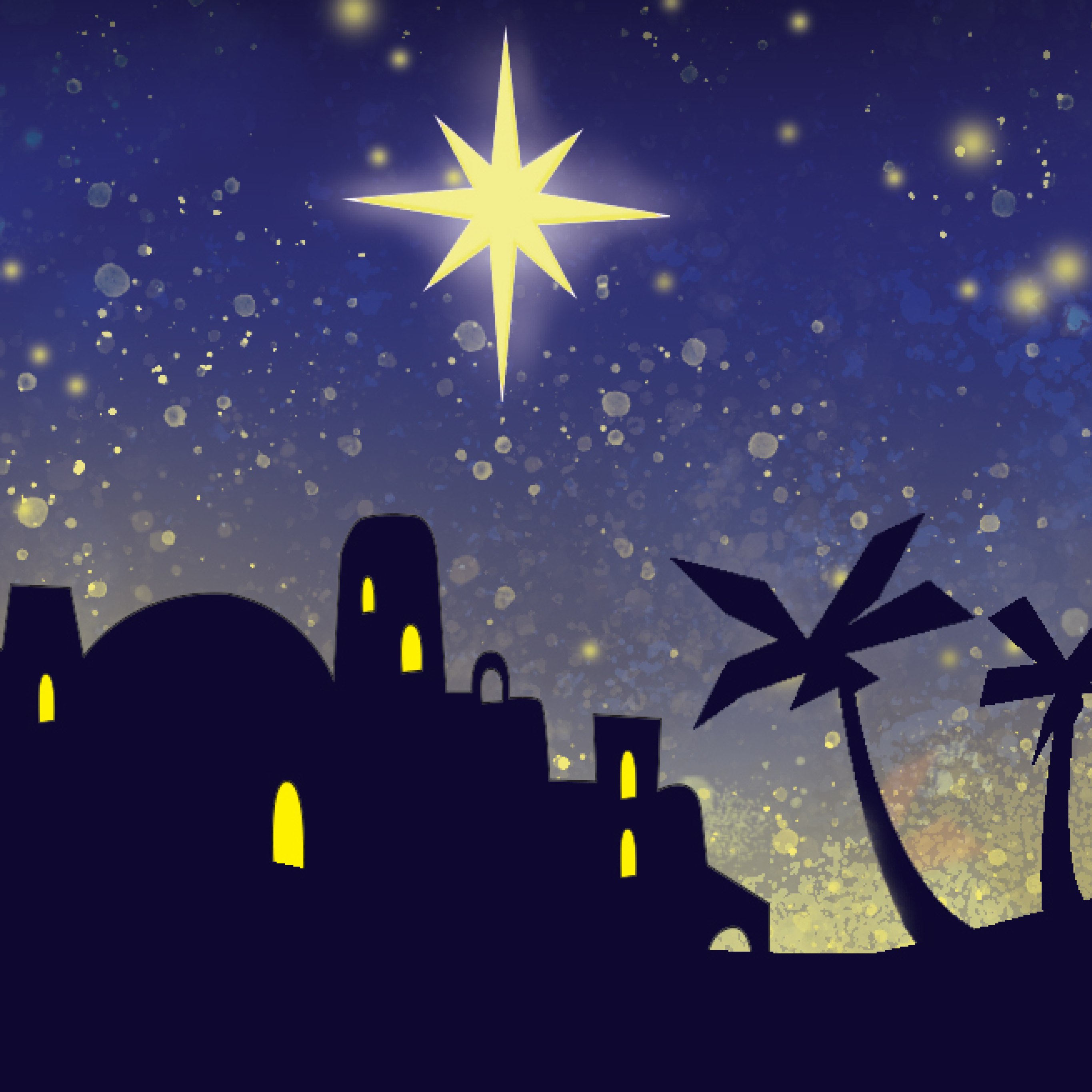 digital projected nativity stage backdrops for school performances